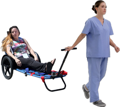 Nurse Transporting Patient using REX ONE